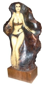 Artwork by Frank Gallo, A lightly clad woman, Made of cast resin