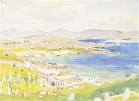 Artwork by Hilda Roberts, ROUNDSTONE, CONNEMARA, Made of watercolour and gouache