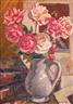 Maurice Savreux, Bouquet de roses trémières dans un vase