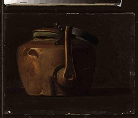 Artwork by John Frederick Peto, Tea Kettle, Made of oil on canvasboard