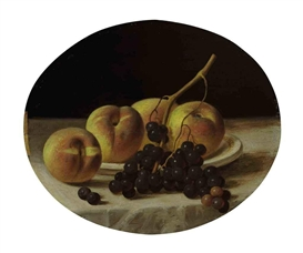 John F. Francis, Pears and grapes on a draped table