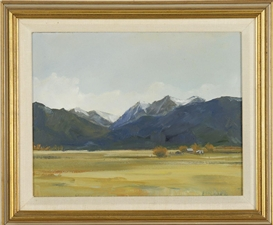Artwork by Anne Packard, View of the Rockies in Montana, Made of Oil on masonite