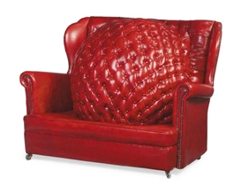 Artwork by Nina Saunders, The Age of Reason, Made of red leatherette Chesterfield style chair upholstered with central ball