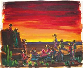Artwork by Lisa Milroy, Another Tequila Sunset, Made of acrylic on canvas