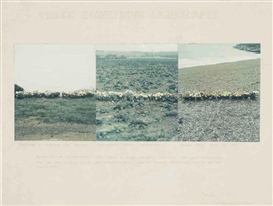 Artwork by Peter Hutchinson, Three coinciding landscapes, Made of ink and photocollage on paper