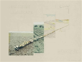 Artwork by Peter Hutchinson, Coinciding landscape No. 2., Made of ink, crayons and photocollage on paper