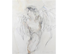 Artwork by Jürgen Görg, Figure study, Made of oil and charcoal on canvas