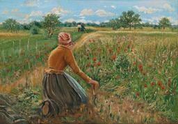 Artwork by Theodor von Hörmann, Knieende Bäuerin mit Sichel, Made of oil on canvas