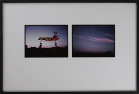 Artwork by Eve Sonneman, 2 works: The Land; The Moon, Rio Pecos, New Mexico, 1978, Made of cibachrome color photographs