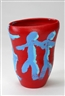 Tony Curtis, Ovoid form vase with blue figures on a red ground