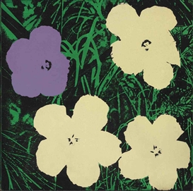 Artwork by Elaine Sturtevant, Warhol Flowers, Made of acrylic and silkscreen inks on canvas
