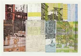 Artwork by Lisa Milroy, New York Street No. 1, Made of etched monoprint with hand-colouring
