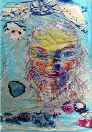 Artwork by David Medalla, The Mask of Verlaine, Made of Collage and pastel