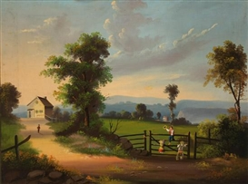 Artwork by John Kane, Children Playing on a Gate in a Country Landscape, Made of Oil on canvas