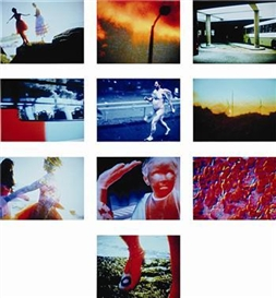 Artwork by Pipilotti Rist, Ten works: Remake of the Weekend (Stills), Made of video stills on Ilfochromes, mounted on aluminum
