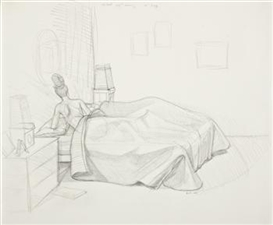Artwork by Kerry James Marshall, Preliminary Sketch for Black Painting, Made of Graphite and charcoal on paper