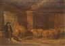 G. Morland, Barn Interior with Farmers and Sheep plus 7 other works