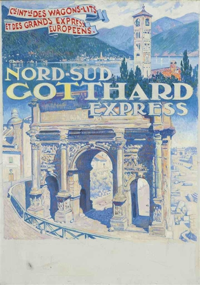 Van rysselberghe th o nord sud gotthard express projet d 39 affiche pour la compagnie des wagons - Compagnie des wagons lits recrutement ...