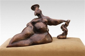 Artwork by Bita Fayyazi, Woman and Imp III, Made of bronze
