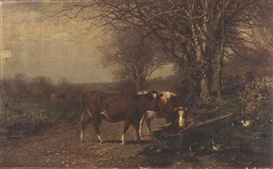 Artwork by James McDougal Hart, COWS AT A TROUGH, Made of Oil on canvas laid down on masonite