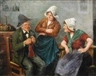 F. Holzer, Two works: Card Players in a Tavern; A Gentleman Showing Two Maids his Knitting Prowess