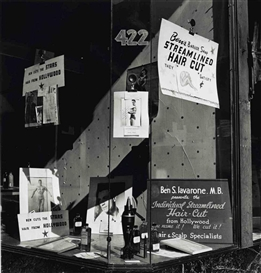 Artwork by John Gutmann, Ben's Barbershop Window, San Francisco, 1946, Made of gelatin silver print