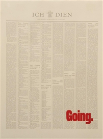 Artwork by Stuart Brisley, Untitled (Going), Made of typeset print on paper