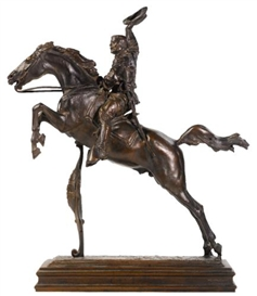 Artwork by Frederick William MacMonnies, Theodore Roosevelt, Made of Bronze, brown patina