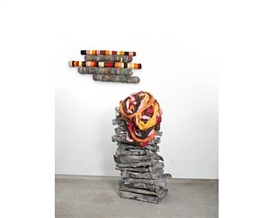 Artwork by Phyllida Barlow, Untitled: crushedrolleddropped, Made of cardboard, cement, scrim, felt, mixed fabrics, plastic tube, wire-netting, paint, sealant and tape