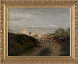 Artwork by Arthur Parton, Depicting a bucolic landscape with sheep, Made of Oil on canvas