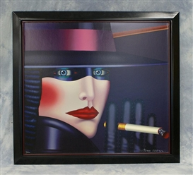 Artwork by Shimon Okshteyn, Tobacco Company, Japan, Smoking Woman, Made of Color lithograph