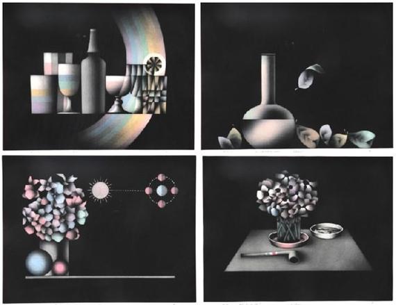 Mario avati 4 works i grandeur nature 1988 - Fleur bleu blanc rouge ...