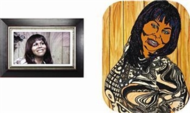 Artwork by Mickalene Thomas, Ain't l a Woman (Fran) (diptych), Made of DVD, rhinestone, acrylic and enamel on panel