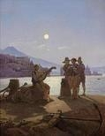 Artwork by Carl Gustav Carus, Italian Fishermen in Naples Harbour, Made of Oil on canvas