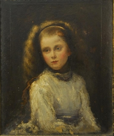 Artwork by William Morris Hunt, PORTRAIT OF MARY ENDICOTT, Made of oil on paper laid down on board