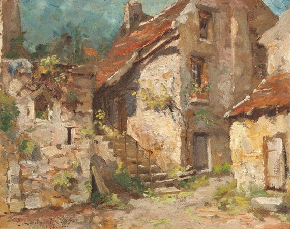Emma Lampert Cooper - European Village Scene, oil...