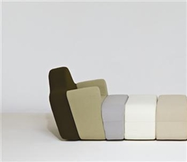 "Artwork by Pierre Charpin, Custom ""Slice"" modular armchair and two ottomans, Made of Fabric, wood"