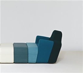 "Pierre Charpin, Custom ""Slice"" modular armchair and two ottomans"