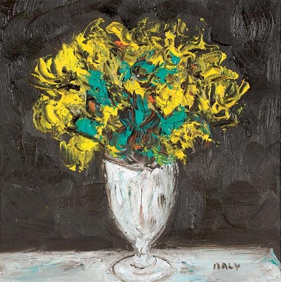 Michel maly bouquet de fleurs jaunes oil on paper for Bouquet de fleurs jaunes
