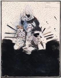 Artwork by Peter Sengl, Weissgesichtsspitzmürige verkronen, Made of mixed media on paper