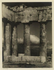 Artwork by Arnold Genthe, Columns of the Parthenon, Made of Warm-toned silver print