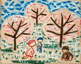 Artwork by Josef Capek, Children under trees, Made of French pastel on hand paper