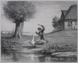 Artwork by William Morris Hunt, The Goose boy, Made of lithograph on chine colle