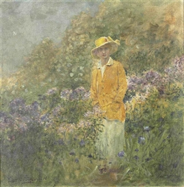 Artwork by Louis Comfort Tiffany, Femme au chapeau, Made of oil on canvas