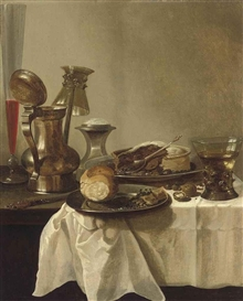 Artwork by Pieter Claesz, A pewter jug with an upturned roemer, a façon-de-Venise flute of wine and a pie on a pewter platter on a partly-draped table, Made of oil on panel