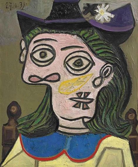 Picasso Pablo   Tête de femme au chapeau mauve (1939)   MutualArt