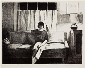 Artwork by Robert Bechtle, 2 works: The Disappearance of Nancy B.; Nancy Sitting, Made of lithographs