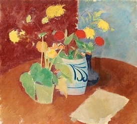Artwork by Karl Oscar Isakson, Still Life with Flowers, Made of Canvas
