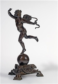 Artwork by Frederick William MacMonnies, Running Cupid, Made of bronze with brown patina