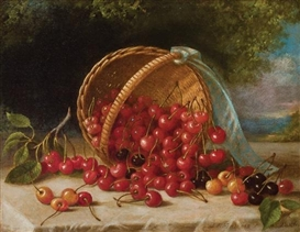 Artwork by John F. Francis, Cherries in a Basket, Made of oil on canvas
